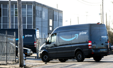 "<strong>Amazon delivery trucks line up outside the company's temporary distribution center, 109 W. McLemore, on Dec. 17, 2018. The e-retailer is renovating a warehouse at 3347 Pearson into a permanent ""delivery station."" </strong>(Houston Cofield/Daily Memphian file)"