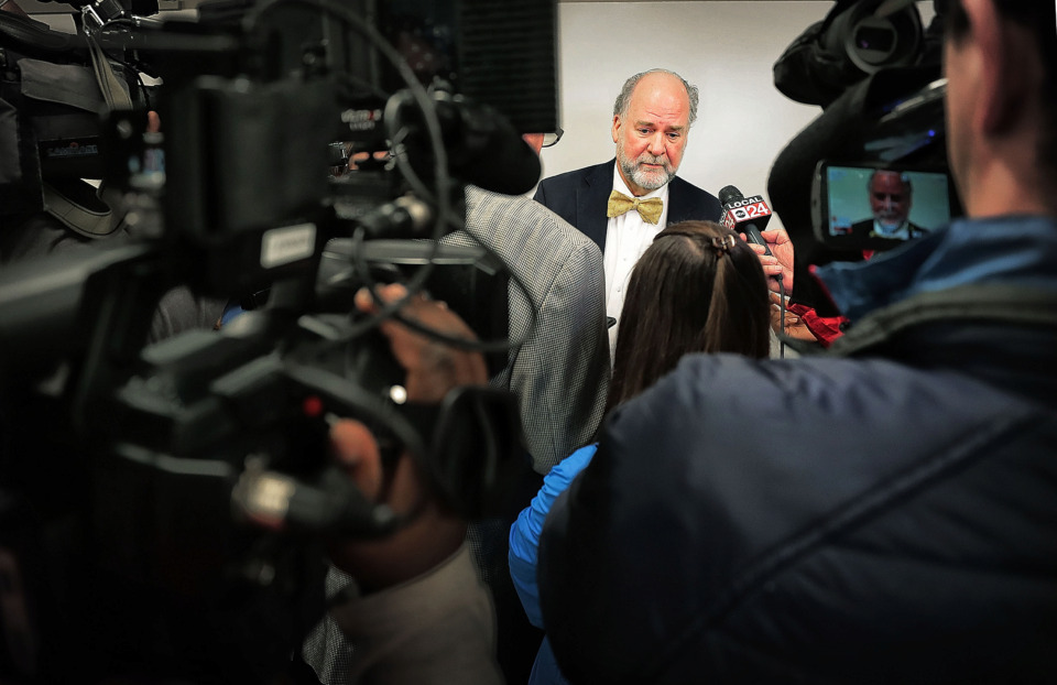 <strong>Shelby County Juvenile Court Judge Dan Michael talks to the media after delivering his annual State of the Court address on Friday, Feb. 22, 2019. </strong>&nbsp;(Jim Weber/Daily Memphian)