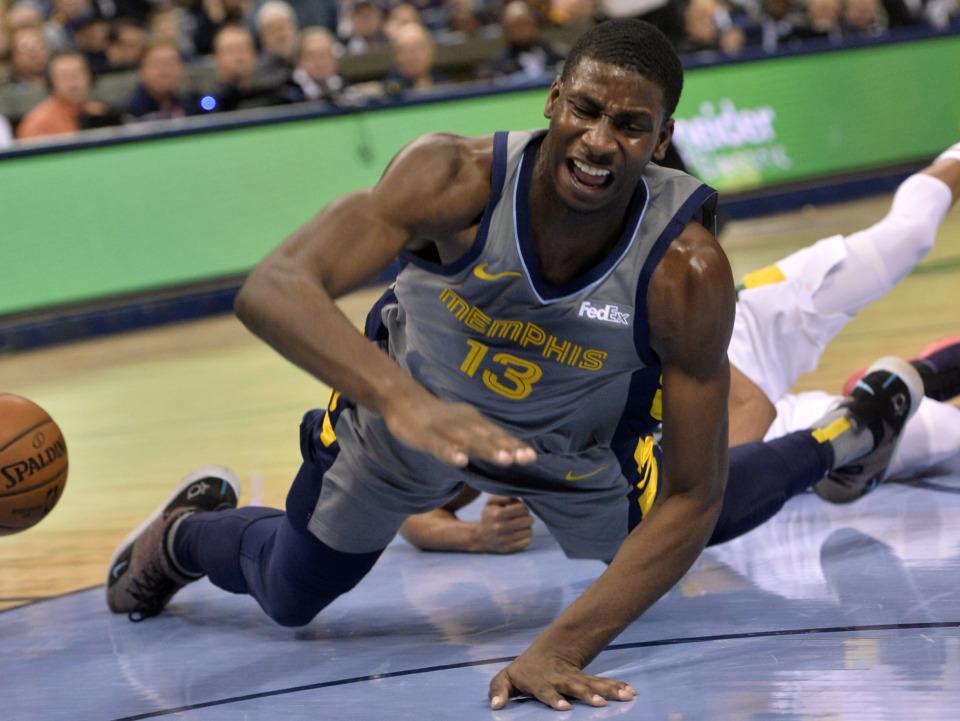 <span>Memphis Grizzlies forward Jaren Jackson Jr. (13) falls to the court in the second half of an NBA basketball game against the New Orleans Pelicans Saturday, Feb. 9, 2019, in Memphis, Tenn. (AP Photo/Brandon Dill)</span>