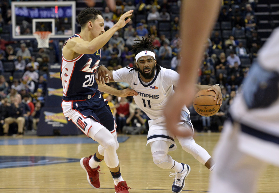 <span><strong>Memphis Grizzlies guard Mike Conley (11) handles the ball againstLos Angeles Clippers guard Landry Shamet (20) in the second half of an NBA basketball game Friday, Feb. 22, 2019, in Memphis, Tenn.</strong> (AP Photo/Brandon Dill)</span>