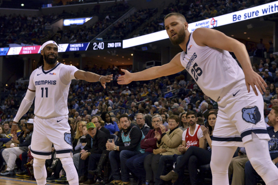 <span><strong>Memphis Grizzlies guard Mike Conley (11) and forward Chandler Parsons (25) play in the first half of an NBA basketball game against the Los Angeles Clippers Friday, Feb. 22, 2019, in Memphis, Tenn.</strong> (AP Photo/Brandon Dill)</span>