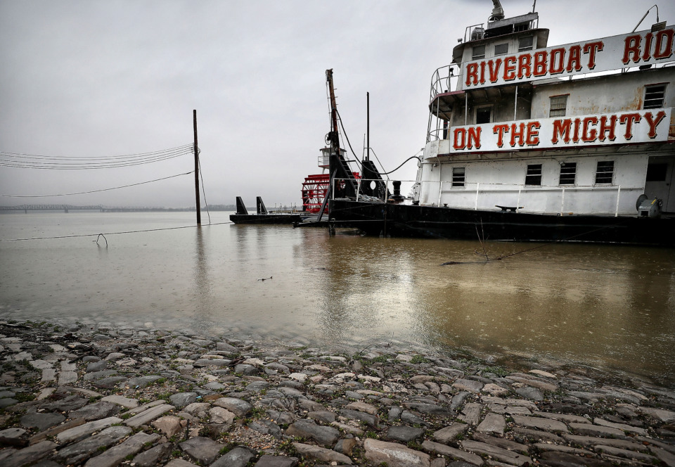 <strong>Cobblestones along the Memphis waterfront where the riverboats dock are almost covered by the rising river, but they are not forgotten. A $6 million project to restore the historic dock could finally be back on track after numerous delays.</strong> (Jim Weber/Daily Memphian)