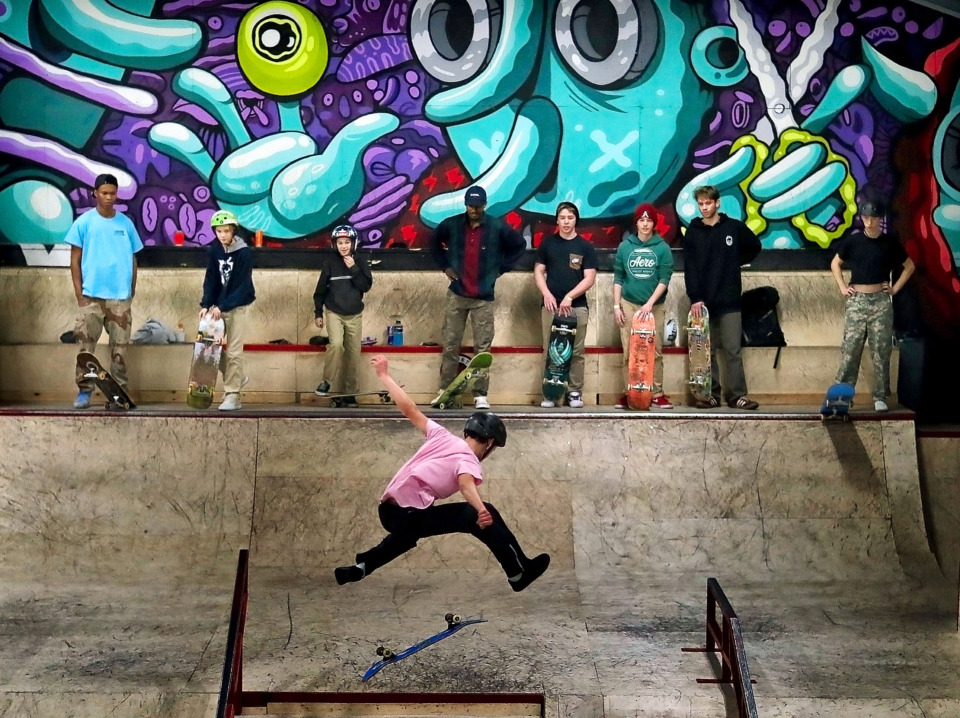 <strong>Skaters wait their turn on the floor at the new Society Skatepark &amp; Coffee, which opened Dec. 22 at 583 Scott Street.</strong>&nbsp;(Jim Weber/Daily Memphian)