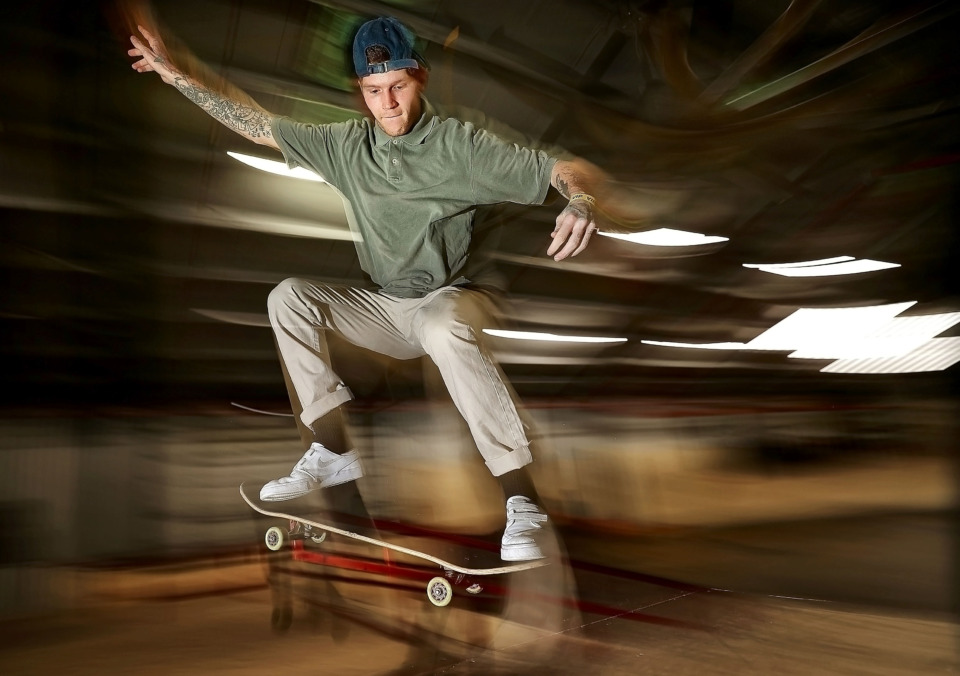 <strong>Skater Aussie Robertson grinds one of the rails at the new Society Skatepark &amp; Coffee.</strong> (Jim Weber/Daily Memphian)
