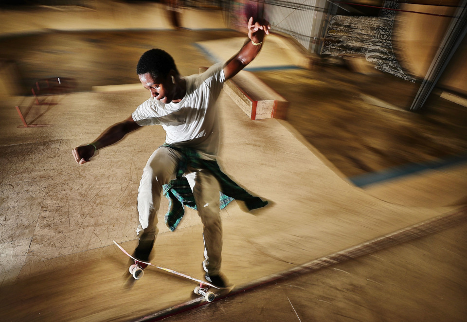 <strong>Skater Dillon Brown practices technique at the new Society Skatepark &amp; Coffee, an industrial warehouse in Binghampton that was transformed by local skate enthusiasts Mark Horrocks, Matthew Wrage and Zac Roberts.</strong> (Jim Weber/Daily Memphian)