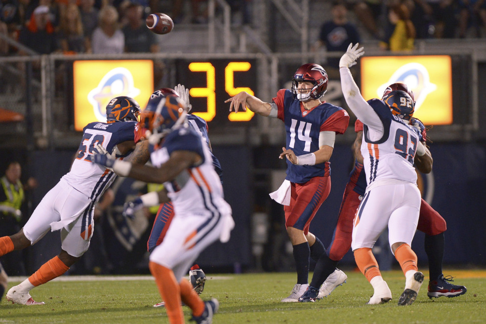 <strong>Memphis Express quarterback Christian Hackenberg (14) throws a pass against the Orlando Apollos during an AAF game, Saturday, Feb. 23, 2019, at Spectrum Stadium in Orlando, Fla.</strong> (AP Photo/Rick Wilson)