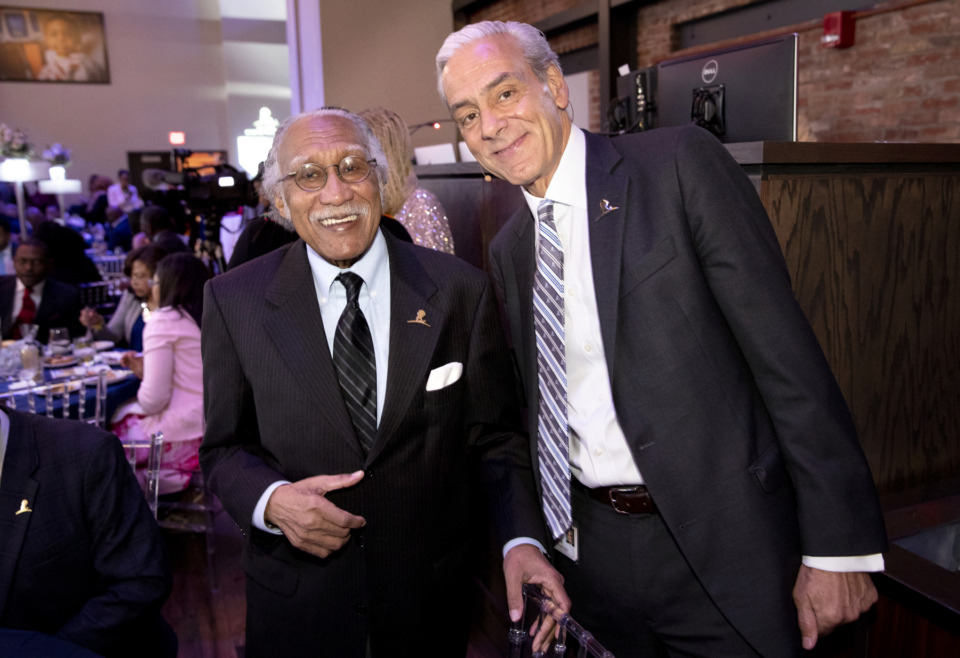 <strong>Dr. Rudolph Jackson, (left, with ALSAC president and CEO Rick Shadyac at the Spirit of the Dream Awards on Friday, Feb. 22) is St. Jude&rsquo;s first African-American doctor who founded the sickle cell program.&nbsp;Jackson also helped start a program to supply medications and baby formula to the underserved African-American population in South Memphis. It would later become the federally funded WIC, or Special Supplemental Nutrition Program for Women, Infants, and Children, program.&nbsp;</strong>(Photo courtesy of ALSAC/St. Jude)