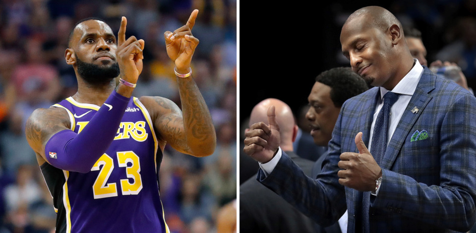 <strong>The longtime friendship between LeBron James, left, and Memphis coach Penny Hardaway could help Hardaway on the recruiting trail, using the NBA star's words as a conversation starter with players.&nbsp;</strong>(LeBron James:&nbsp;AP Photo/Matt York; Penny Hardaway: Jim Weber/Daily Memphian)