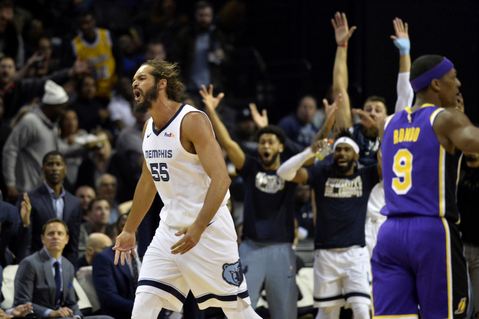 <span><strong>Memphis Grizzlies center Joakim Noah (55) reacts in the second half of an NBA basketball game against the Los Angeles Lakers Monday, Feb. 25, 2019, in Memphis, Tenn.</strong> (AP Photo/Brandon Dill)</span>