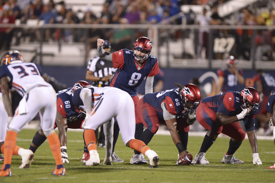 <strong>Memphis Express quarterback Zach Mettenberger (8) signals a receiver from under center against the Orlando Apollos during an AAF game on Saturday, Feb. 23, 2019, at Spectrum Stadium in Orlando, Fla.</strong> (AP Photo/Rick Wilson)