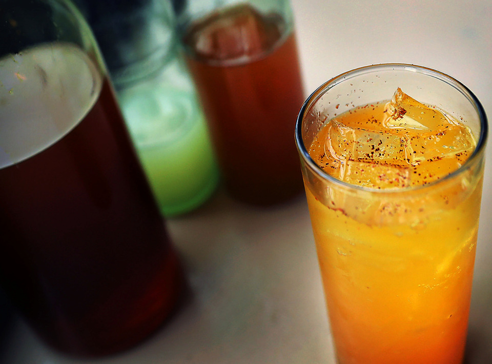 <strong>A turmeric liqueur-based cocktail is being created by the Edge Alley staff for their spring menu.</strong> (Patrick Lantrip/Daily Memphian)