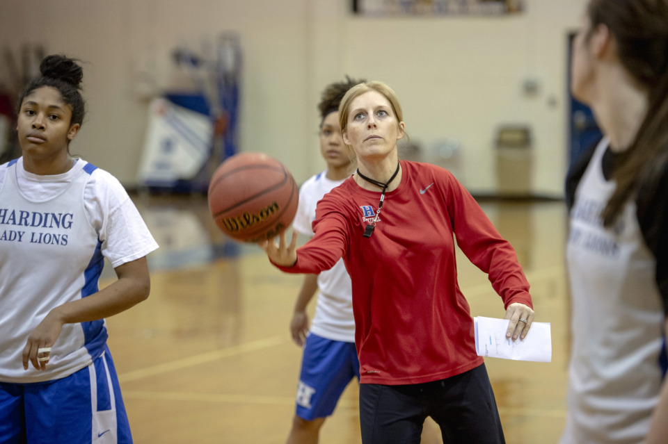 <strong>Becky Starks has guided Harding's girls team to an impressive 28-2 record this season. The Lions are hoping to add two more victories, starting with Friday's game against Providence Christian.</strong> (Brandon Dill/Special To The Daily Memphian)