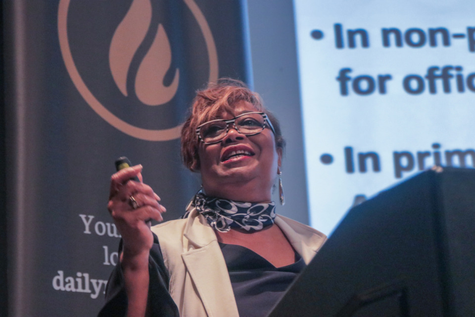 <strong>Beverly Robertson, interim president and CEO of the Greater Memphis Chamber, outlines the importance of developing a business plan during her comments at the Women and Business seminar Thursday, Feb. 28, 2019.&nbsp;</strong>(Jason R. Terrell/Daily Memphian)
