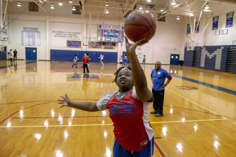 <strong>Monique Chew shoots a layup during girls basketball practice at Harding Academy on Feb. 25, 2019 in Memphis, Tenn.</strong> (Brandon Dill/Special To The Daily Memphian)