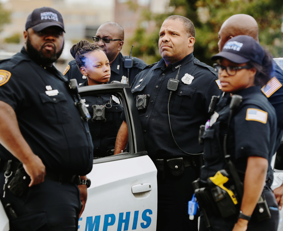 <strong>Memphis police officers block off Jefferson near the Memphis Police Association headquarters Sept. 26, 2018, as protesters hold a press conference on the shooting of Martavious Banks. Banks was shot by MPD officer Jamarcus Jeames, whose body camera was turned off at the time of the shooting. A proposed bill from state Rep. G.A. Hardaway would charge police officers with a felony for turning off thier body cameras.&nbsp;</strong>(Houston Cofield/Daily Memphian file)<strong></strong>