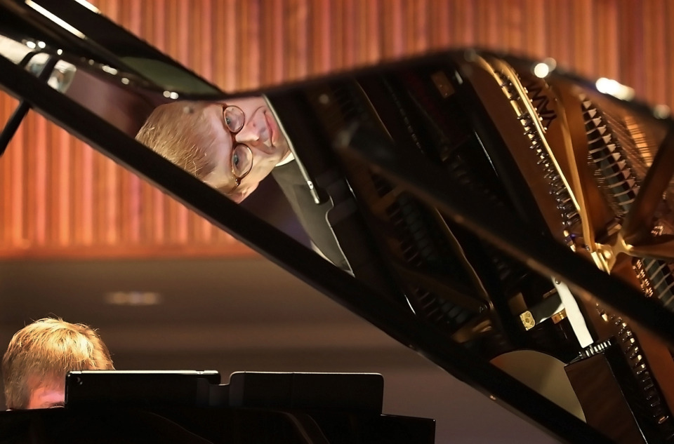 "<strong>Music historian and pianist Garik Pedersen performs ""Moonlight Serenade"" by Glen Miller during his program called ""The Steinway Victory Vertical Project"" at Second Baptist Church on March 2, 2019. Pedersen talked about and performed music that was meant to improve morale among the American troops during World War II.</strong> (Jim Weber/Daily Memphian)"