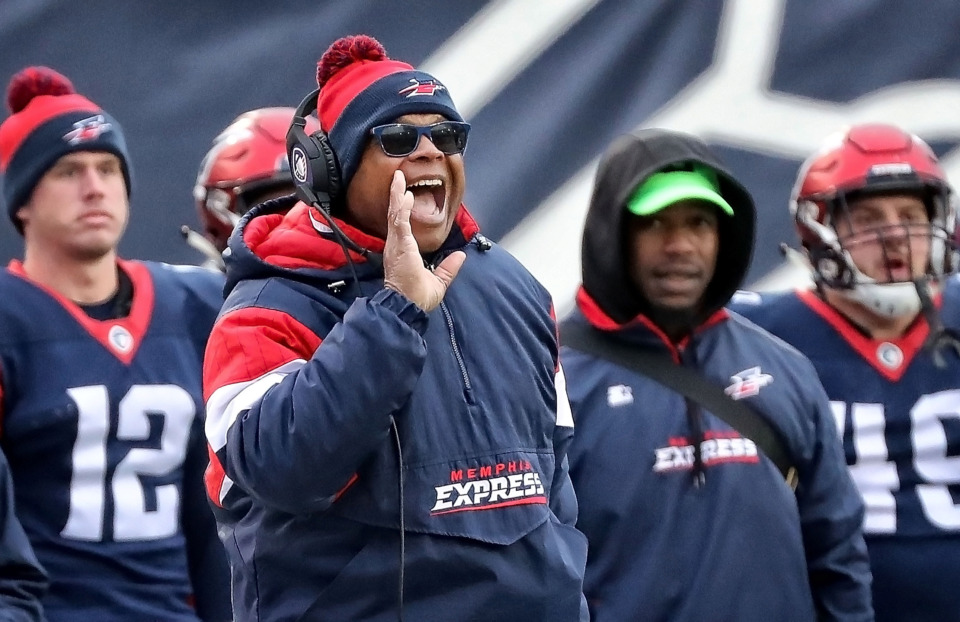 <strong>Head coach Mike Singletary of the Memphis Express calls a play against the San Diego Fleet during their AAF league game at the Liberty Bowl on March 2, 2019.</strong> (Jim Weber/Daily Memphian)