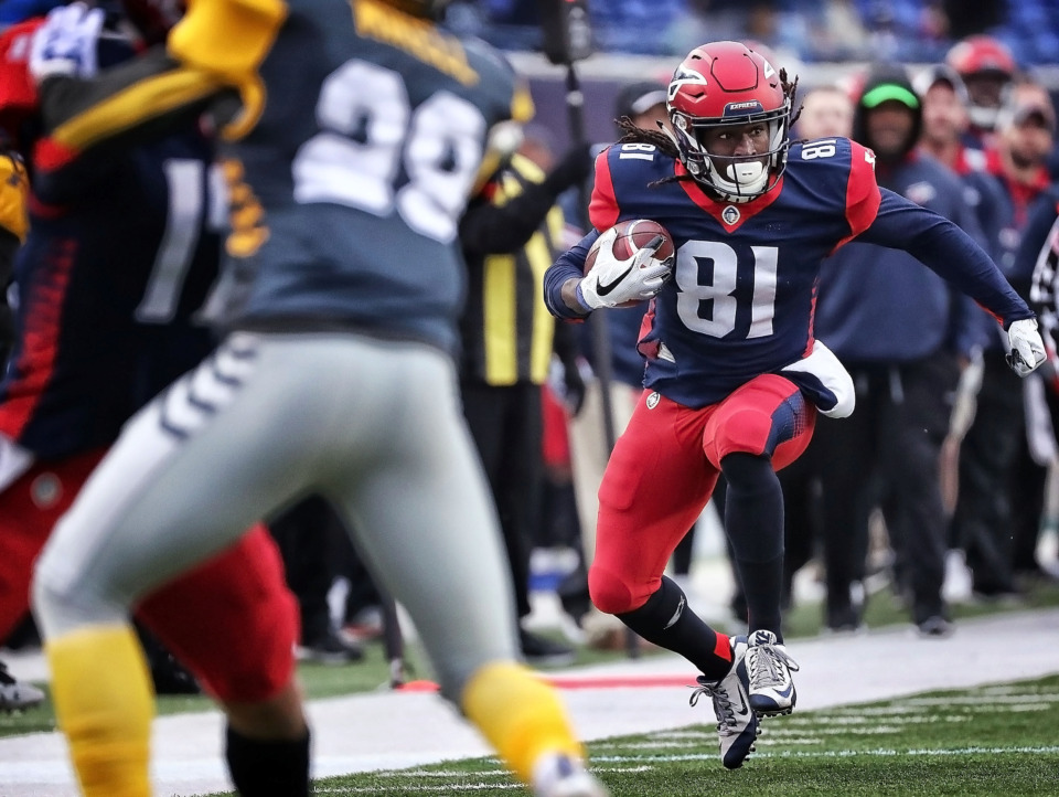 <strong>Memphis Express receiver Alton Howard looks for an opening to the endzone on a long run during the tem's AAF league game against the San Diego Fleet at the Liberty Bowl on March 2, 2019.</strong> (Jim Weber/Daily Memphian)