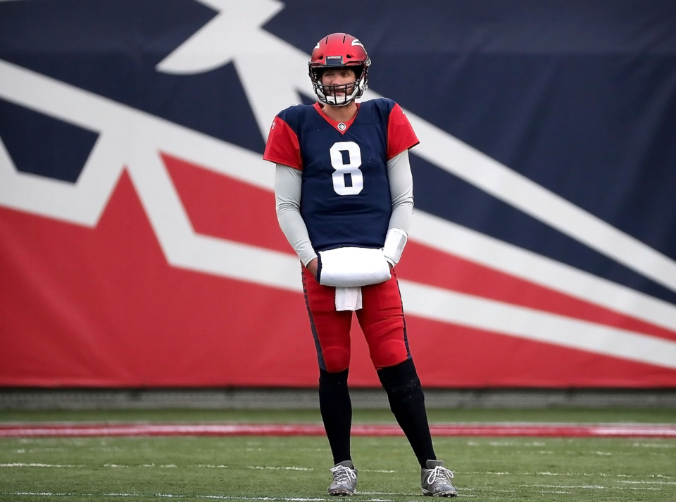 <strong> Memphis Express quaterback Zach Mettenberger (8) waits for a commercial break to pass during the teams AAF league game against the San Diego Fleet at the Liberty Bowl on March 2, 2019.</strong> (Jim Weber/Daily Memphian)