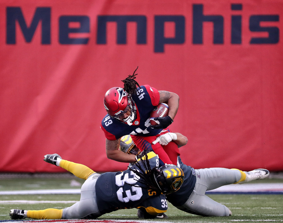 <strong>Memphis Express running back Terrence Magee (43) is taken down for a short gain against the San Diego Fleet during their AAF league game at the Liberty Bowl on March 2, 2019.</strong> (Jim Weber/Daily Memphian)