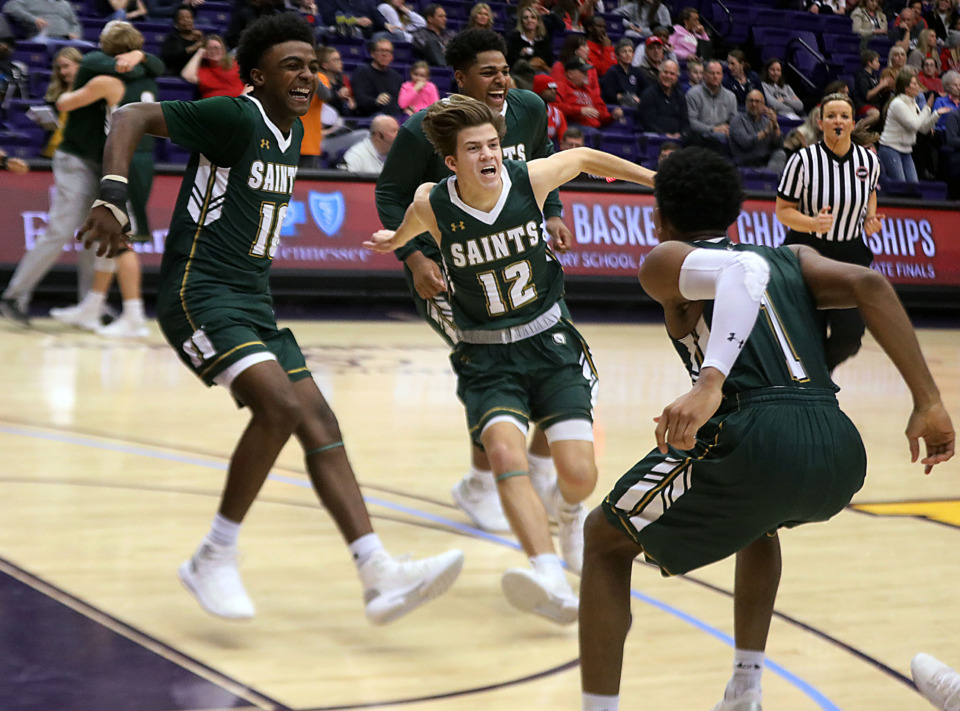 <strong>Briarcrest players celebrate their victory over Brentwood Academy in the state championship game Saturday, March 2, 2019.</strong>&nbsp;(Patrick Lantrip/Daily Memphian)