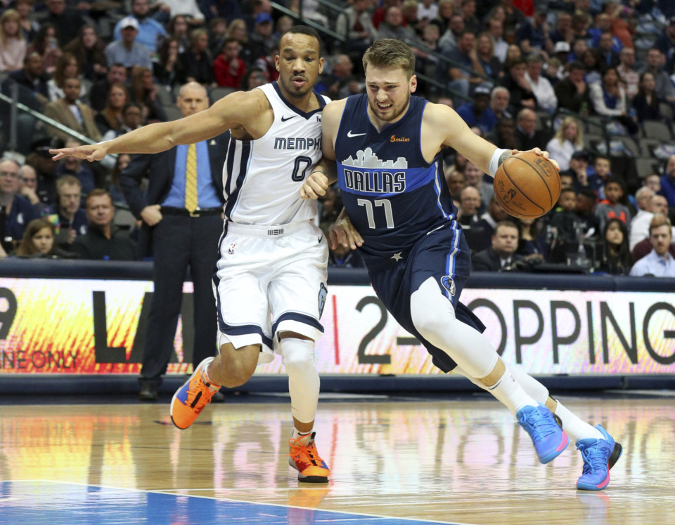 <span><strong>Memphis Grizzlies guard Avery Bradley (0) defends as Dallas Mavericks forward Luka Doncic (77) tries to drive with the ball in an NBA basketball game Saturday, March 2, 2019, in Dallas.</strong> (AP Photo/Richard W. Rodriguez)</span>