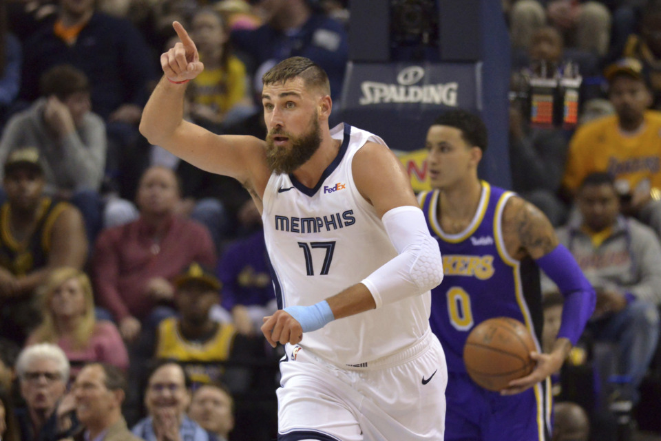 <span><strong>Memphis Grizzlies center Jonas Valanciunas (17) plays in the first half of an NBA basketball game against the Los Angeles Lakers Monday, Feb. 25, 2019, in Memphis, Tenn.</strong> (AP Photo/Brandon Dill)</span>