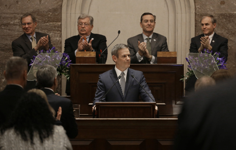 <strong>Gov. Bill Lee delivers his first State of the State Address Monday, March 4, 2019, in Nashville, Tenn. Lee has proposed putting $37.4 million toward charter schools and education savings accounts as part of his fiscal 2020 budget.</strong> (AP Photo/Mark Humphrey)