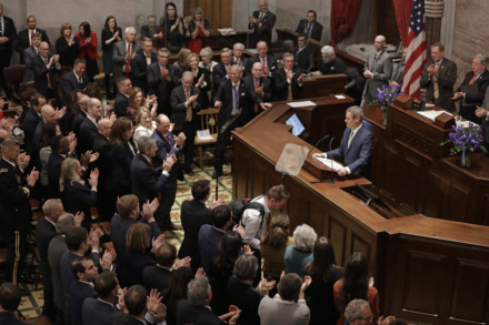 "<span><strong>Tennessee Gov. Bill Lee is applauded as he delivers his first State of the State address Monday, March 4, 2019, in Nashville, Tenn. Saying ""the state of our state is hopeful, prosperous and strong,"" Lee is calling for no new taxes in the budget.</strong> (AP Photo/Mark Humphrey)</span>"