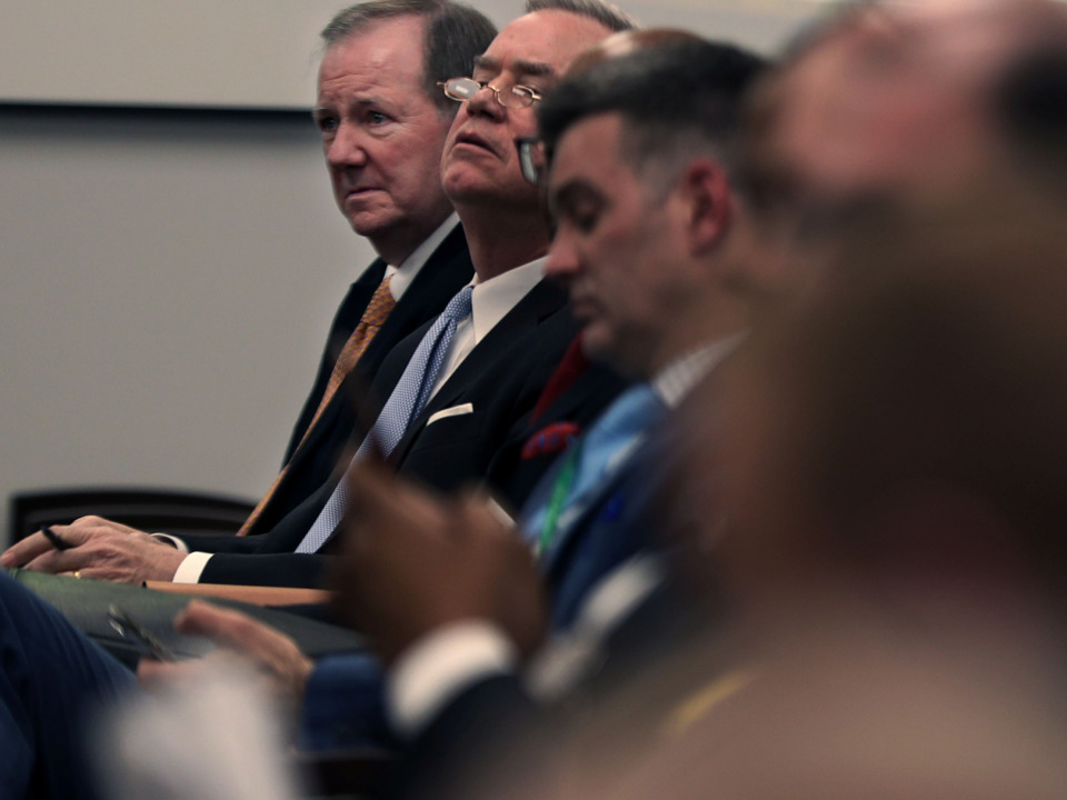 <strong>Jack Soden and attorney James McLaren look on as the Memphis City Council discusses the tentative agreement between the city and Elvis Presley Enterprises over Graceland&rsquo;s expansion.</strong> (Patrick Lantrip/Daily Memphian)