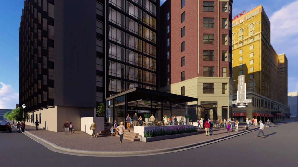 <strong>A rendering of the proposed Hotel Tennessee shows the view from Union Avenue. A developer is proposing&nbsp;a $47 million conversion into four-star, full-service boutique hotel. </strong>(Rendering courtesy of King &amp; Union Memphis Acquisitions LLC)