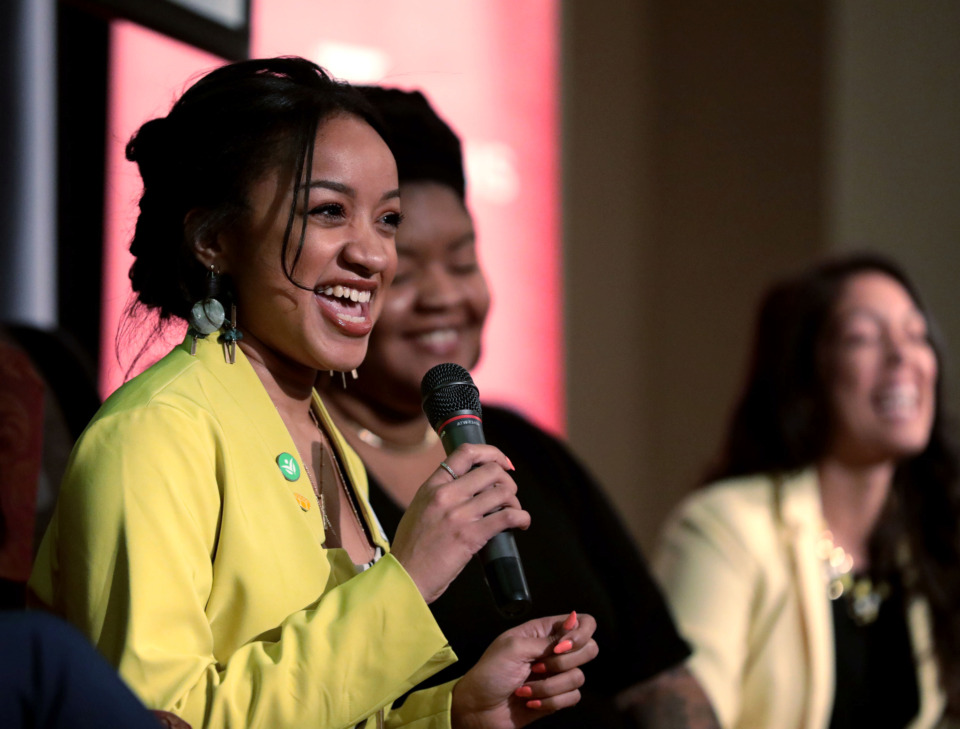 <strong>Chloe Moore, continuous improvement specialist at Seeding Success, speaks about the importance of entrepreneurs surrounding themselves with mentors during New Memphis' Celebrate What's Right luncheon Tuesday, March 6, 2019. The event featured women leaders looking to shape the city's future.</strong> (Houston Cofield/Daily Memphian)