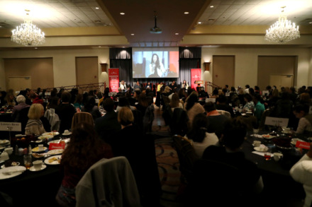 <strong>A sold-out crowd listens to SweetBio co-founder Kayla Rodriguez Graff (far right) during New Memphis' Celebrate What's Right luncheon Tuesday, March 6, 2019, at the Holiday Inn University of Memphis. Graff discussed the importance of building relationships with philanthropists and supporting entrepreneurs.</strong> (Houston Cofield/Daily Memphian)
