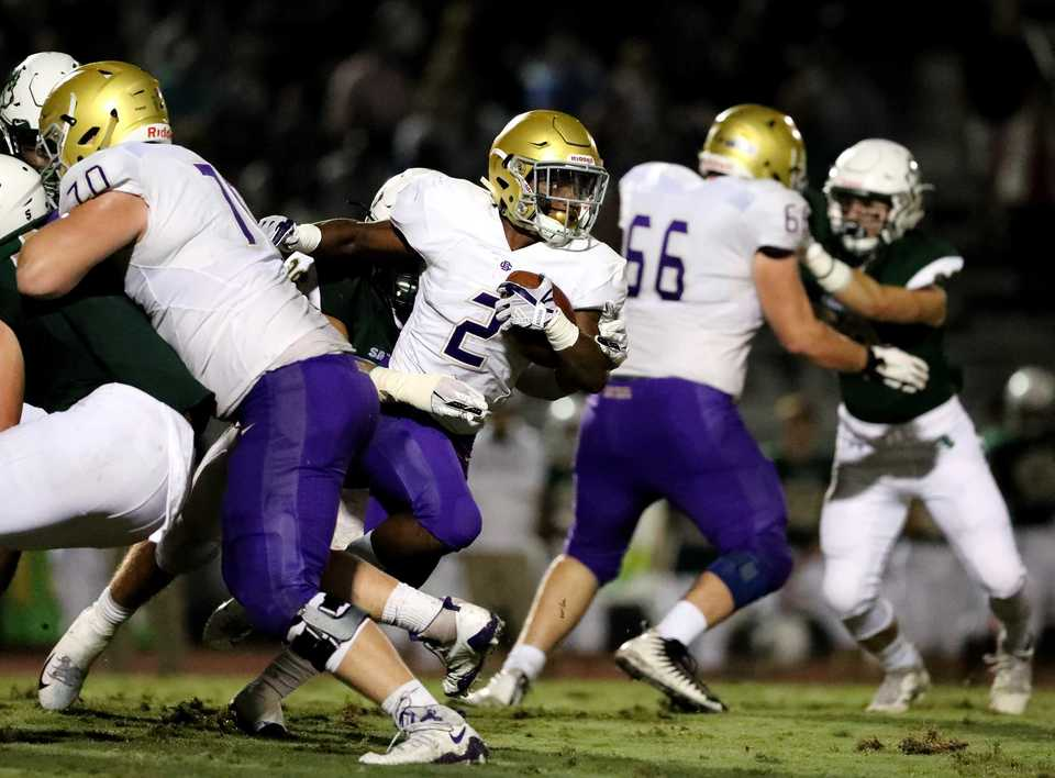 <strong>CBHS running back Will Ruth sprints through Briarcrest's defense on Friday, Sept. 28.</strong> (Houston Cofield/Daily Memphian)