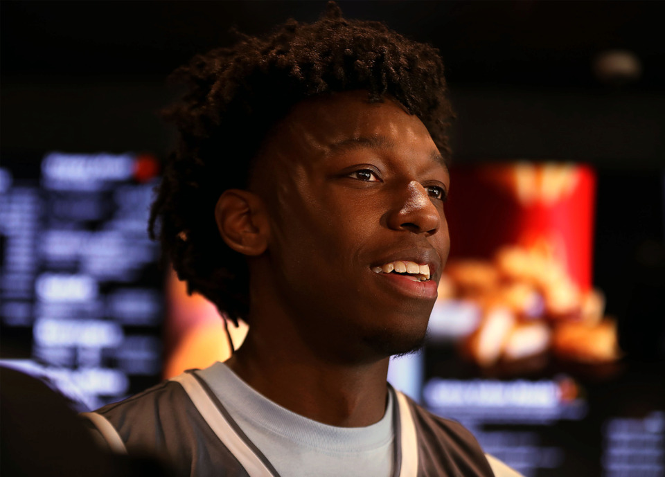 <strong>James Wiseman receives his McDonald&rsquo;s All-American jersey Wednesday, March 6, 2019. The incoming University of Memphis freshman headlines the class of 2019 as ESPN&rsquo;s No. 1 recruit in the nation.</strong> (Patrick Lantrip/Daily Memphian)