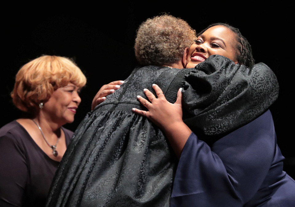 <strong>Shelby County Commissioner Tami Sawyer (right) takes the oath of office during ceremony at the Cannon Center on August 30, 2018. Six months after being sworn in as commissioner, Sawyer announced on March 7 that she is launching a campaign to be the next Memphis mayor.</strong> (Jim Weber/Daily Memphian file)