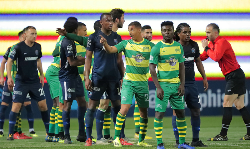 <strong>Players line up for a corner kick during the 901 FC season opener against the Tampa Rowdies at Autozone Park on March 9, 2019. The Rowdies beat Memphis 1-0 with a penalty kick early in the first half.</strong> (Jim Weber/Daily Memphian)
