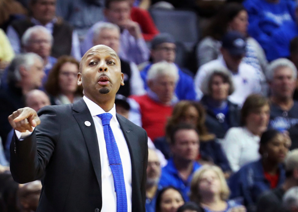 "<strong>University of Memphis basketball coach Penny Hardaway calls to players during the game against the Tulsa Golden Hurricane&nbsp;</strong><span class=""s1""><strong>at FedExForum on Saturday, March 9, 2019.</strong>&nbsp;(Karen Pulfer Focht/Special to The Daily Memphian)</span>"