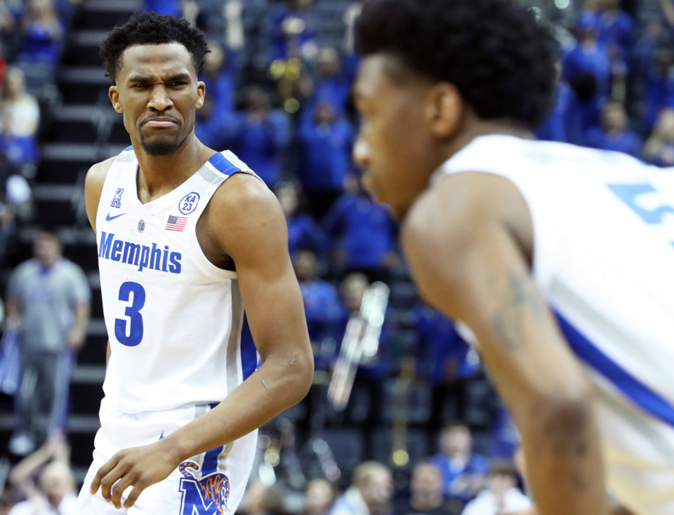 "<strong>University of Memphis guard Jeremiah Martin (3) reacts to a call during the game against Tulsa Golden Hurricane</strong><span class=""s1""><strong>&nbsp;at FedExForum on Saturday, March 9, 2019</strong>.&nbsp;(Karen Pulfer Focht/Special to The Daily Memphian)</span>"