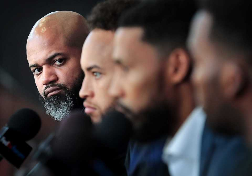Head coach J.B. Bickerstaff introduces new additions, including guard Garrett Temple (third from left) at a recent FedExForum news conference. (Jim Weber/The Daily Memphian)