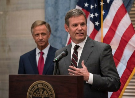 <strong>Bill Lee speaks with reporters in November 2018 after his election as Tennessee's 50th governor, as outgoing Gov. Bill Haslam looks on.</strong> (Photo courtesy of TN.gov)