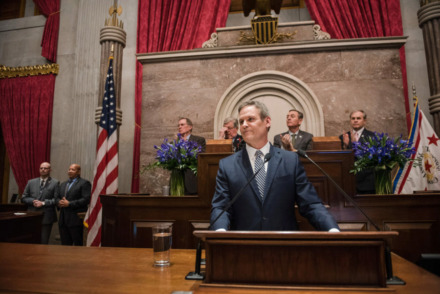 <strong>Gov. Bill Lee delivers his State of the State address on March 4, including his voucher proposal for low-income students in districts with struggling schools.</strong> (TN.gov)