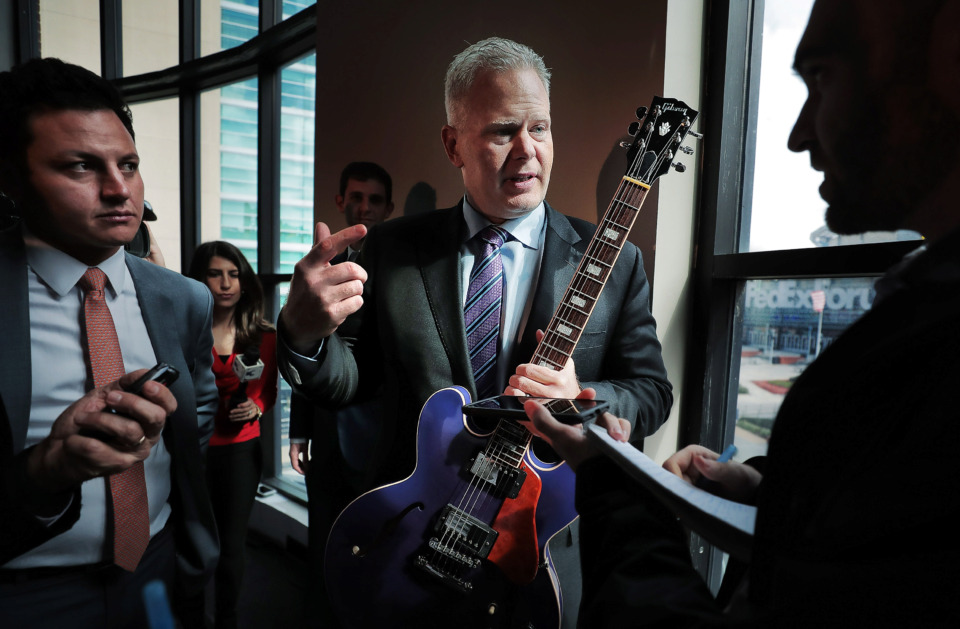 "<strong>CEO of Memphis-based FedEx Logistics Richard Smith answers questions from what he believes will be his new office overlooking FedExForum on Feb. 12, 2019, after a press conference to announce that FedEx will be moving into the Gibson Guitar Factory in Downtown.&nbsp;<span class=""s1"">At that time, neither Smith nor Berlin Boyd, a Memphis City Council member and key player in the relocation, indicated Boyd had been working for that specific part of FedEx Corp. for seven months.&nbsp;</span></strong>(Jim Weber/Daily Memphian file)&nbsp;"