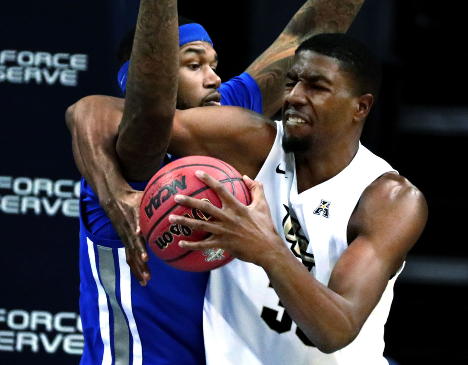 "<strong>University of Central Florida forward Collin Smith (35) struggles for a rebound against University of Memphis forward Mike Parks Jr. (10)&nbsp;</strong><span class=""s1""><strong>during an AAC tournament game against UCF on Friday, March 15, 2019, at FedExForum in Memphis. </strong>(Houston Cofield/Daily Memphian)</span>"