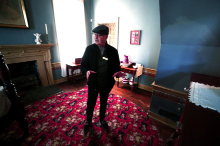 <strong>Randle Witherington leads a tour of the Magevney House on Adams Avenue Friday, March 15, 2019. The city is offering tours of the historic house every Friday during Lent to capitalize on increased traffic at nearby churches.</strong> (Houston Cofield/Daily Memphian)