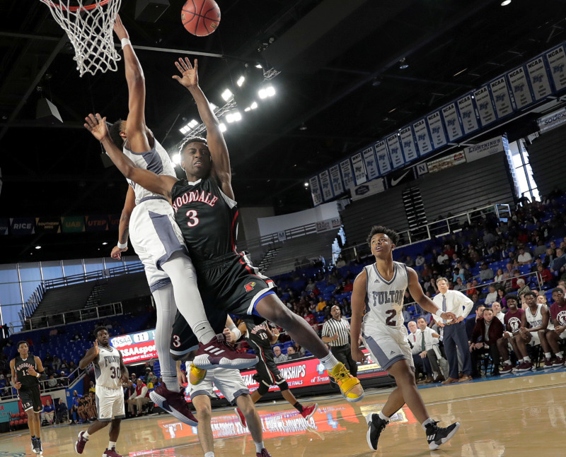 <strong>Wooddale's Alvin Miles draws a foul during Wooddale's TSSAA Class AA state basketball finals game against Knoxville Fulton at MTSU in Murfreesboro on March 16, 2019.</strong> (Jim Weber/Daily Memphian)