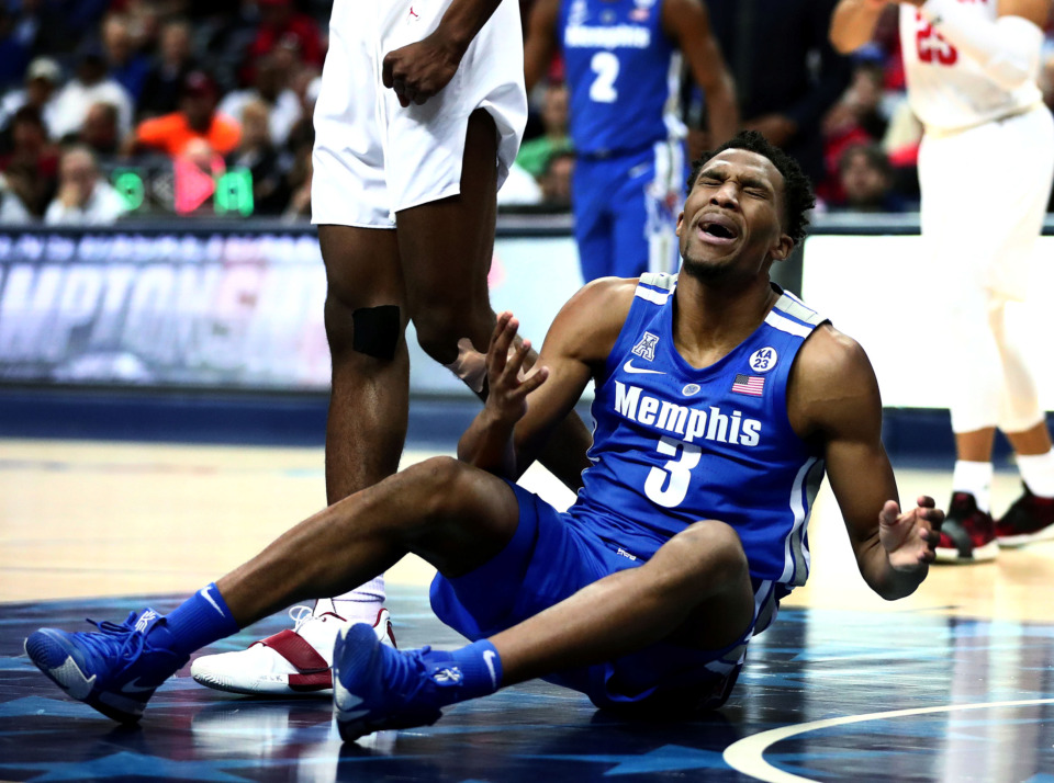 "<strong>University of Memphis guard Jeremiah Martin (3) reacts to a call by the referee&nbsp;<span class=""s1"">during a semifinal game against Houston in the American Athletic Conference tournament on Saturday, March 16, 2019, at FedExForum in Memphis. </span></strong><span class=""s1"">(Houston Cofield/Daily Memphian)</span>"