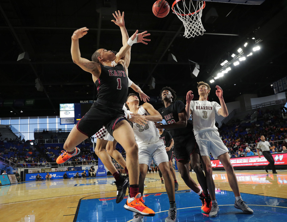 <strong>East High School's Antonio Thomas is fouled on a shot attempt during East's TSSAA Class AAA state basketball finals game against Bearden at MTSU in Murfreesboro on March 16, 2019.</strong> (Jim Weber/Daily Memphian)