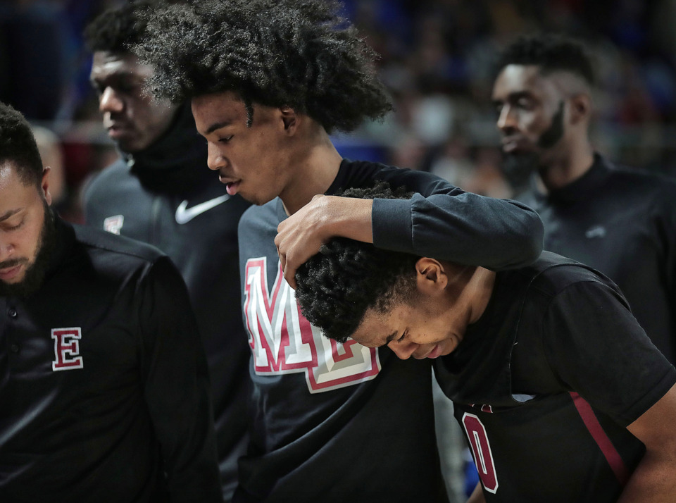 <strong>East High School's Derrein Merriweather (right) and Markese Washington react after losing in the Class AAA state basketball finals against Bearden at MTSU in Murfreesboro on March 16, 2019.</strong> (Jim Weber/Daily Memphian)