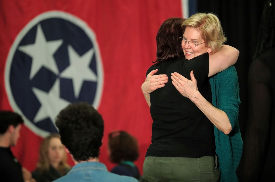 <strong>Presidential hopeful Sen. Elizabeth Warren greets supporters with a hug and a selfie after a rally at Douglass High School in Memphis on Sunday, March 17. The U.S. senator from Massachusetts is&nbsp; seeking the nomination&nbsp;</strong><span><strong>in the 2020 Democratic presidential primary.</strong>&nbsp;</span>(Jim Weber/Daily Memphian)